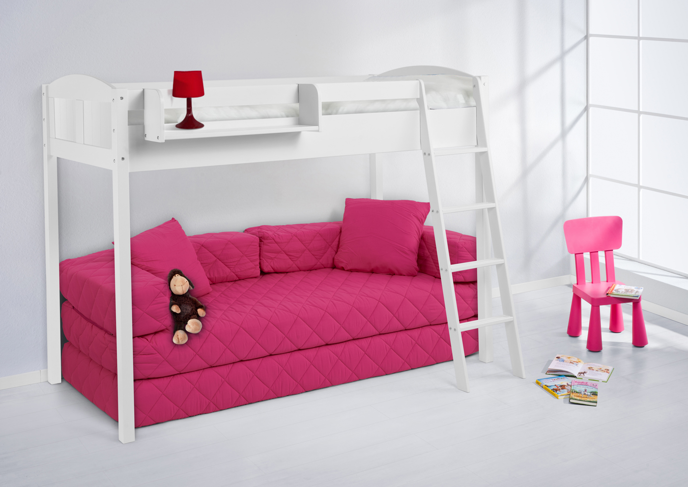 spielbett hochbett kinderbett bett landhaus weiss extra hoch 150 cm neu rost ebay. Black Bedroom Furniture Sets. Home Design Ideas